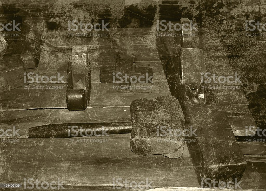 Retro Picture 19th Century Woodwork Tools stock photo