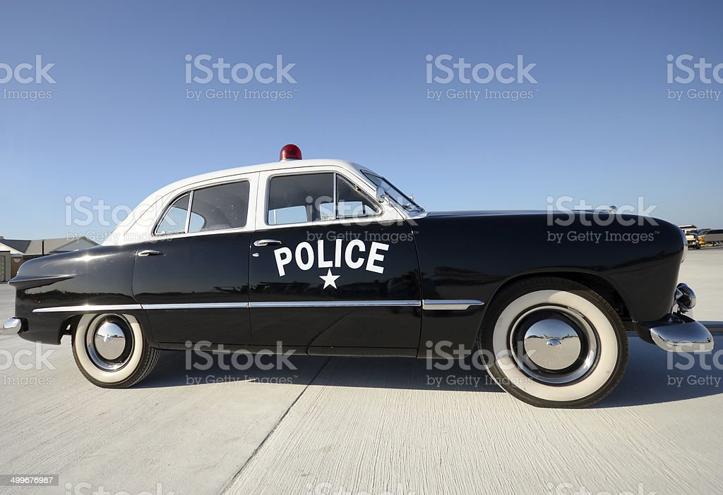 Retro police car stock photo