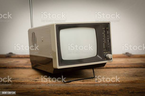 Retro Portable Television Small Handheld Tv Vintage Electronics Stock Photo - Download Image Now
