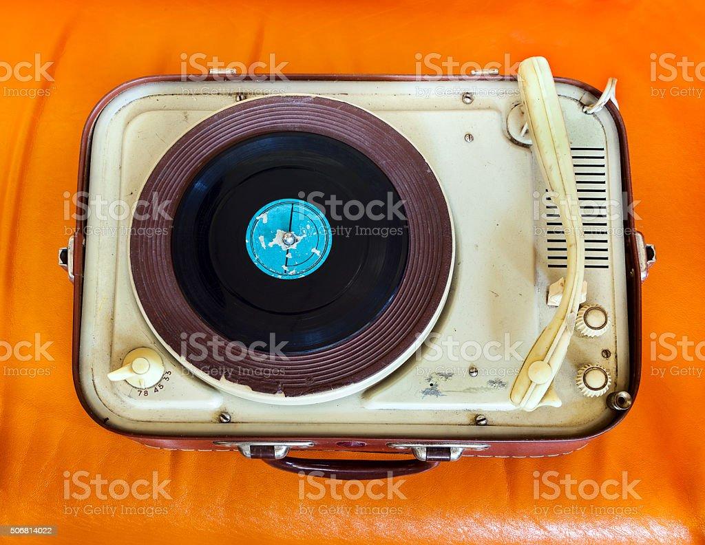 Retro portable turntable stock photo
