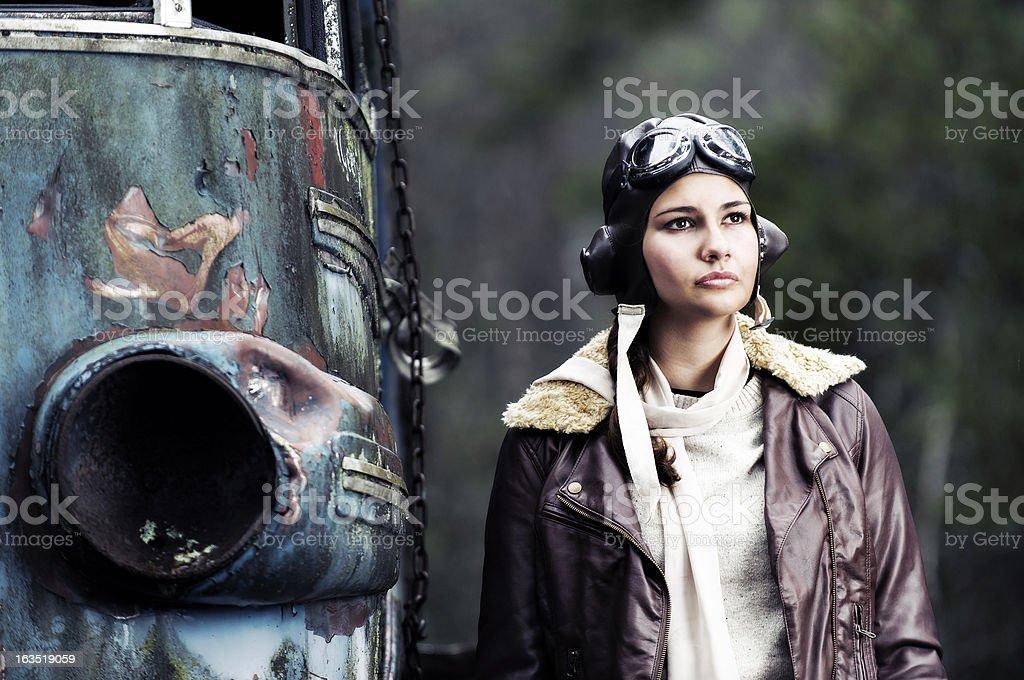 Retrò Ritratto di una donna aviator - foto stock