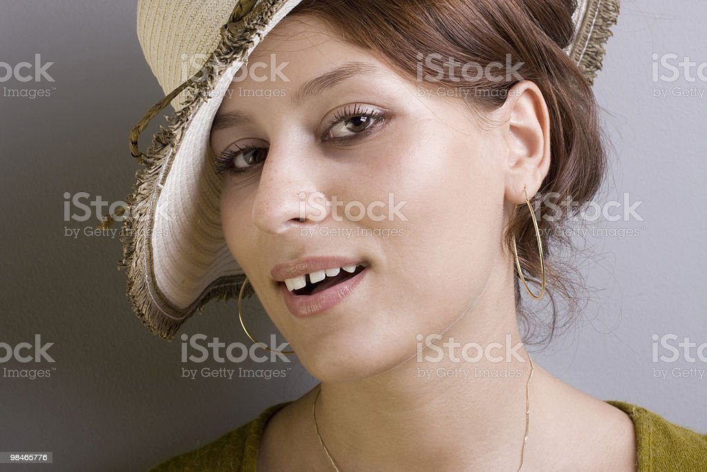 Retro portrait of a smiling beautiful woman royalty-free stock photo