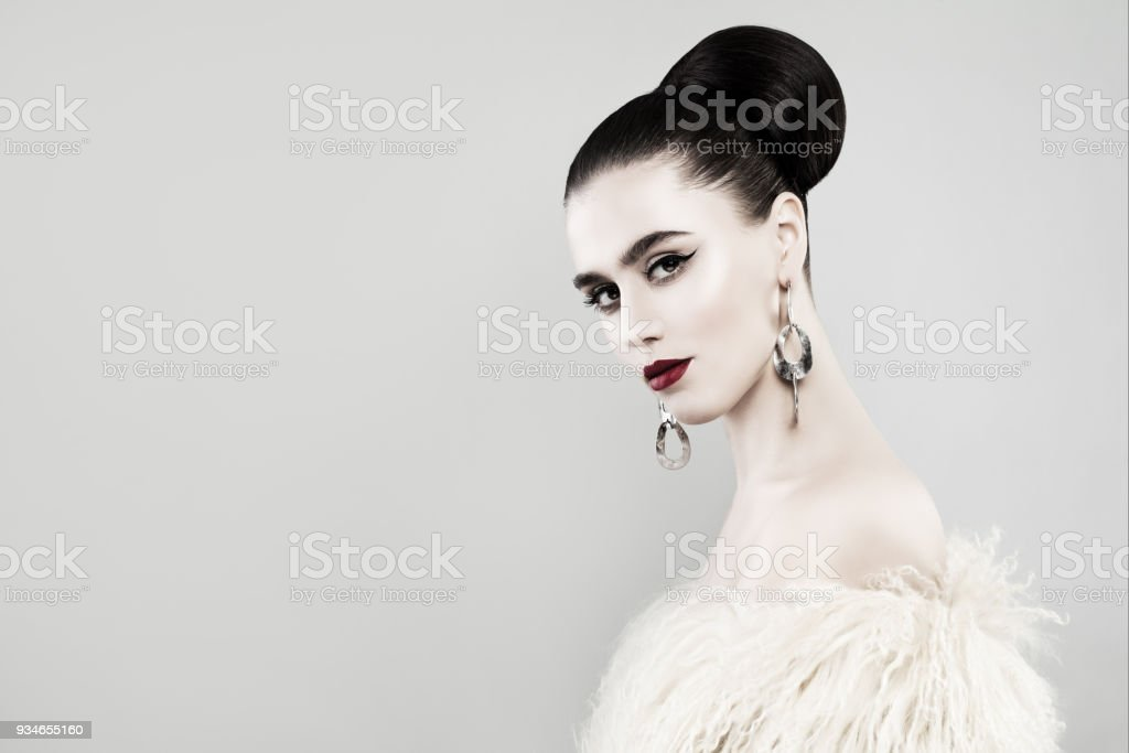 Retro Portrait of Beautiful Woman on Banner Background stock photo