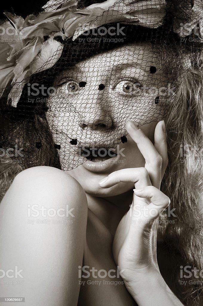 Retro portrait of beautiful woman surprised royalty-free stock photo