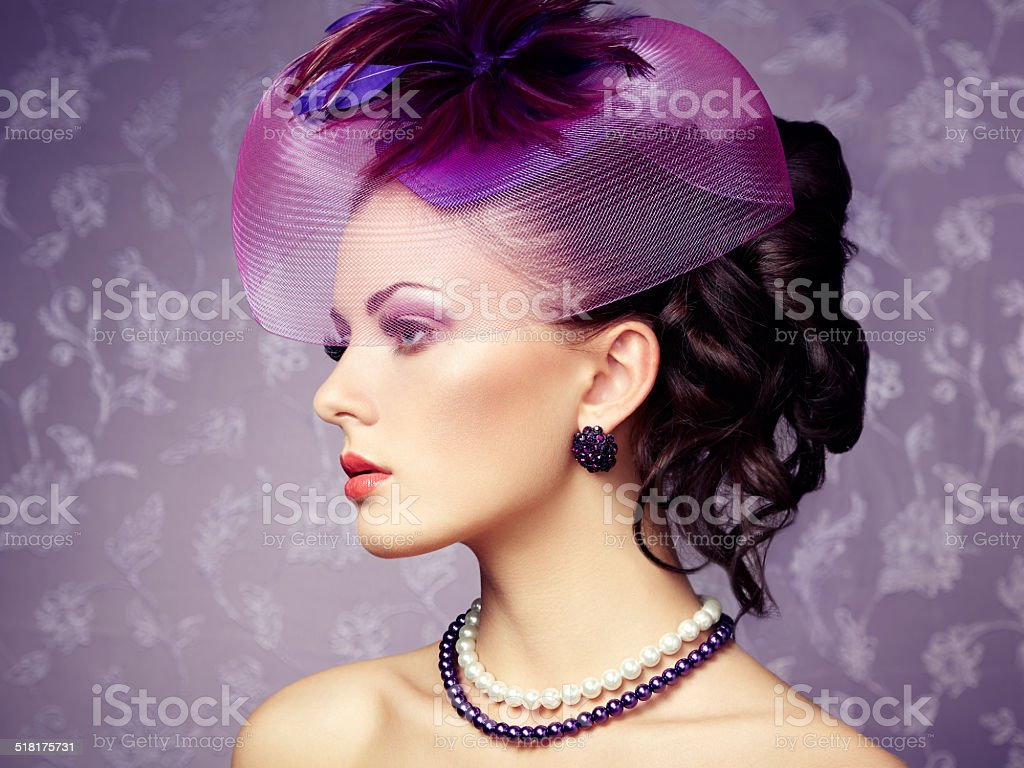 Retro portrait of  beautiful woman. Vintage style stock photo