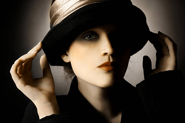 retro portrait of woman in hat - 1940s style stock photos and pictures