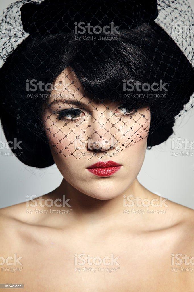 Retro Portrait Veiled royalty-free stock photo
