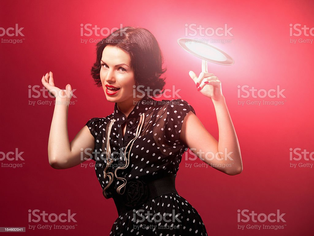 Retro portrait with light disk royalty-free stock photo