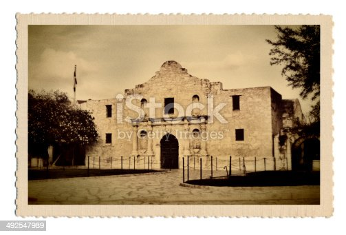 A retro postcard of the Alamo memorial, San Antonio, Texas, USA. The image on the postcard is an original photograph produced for this stock photo, it is not a scan copy of an actual postcard image.