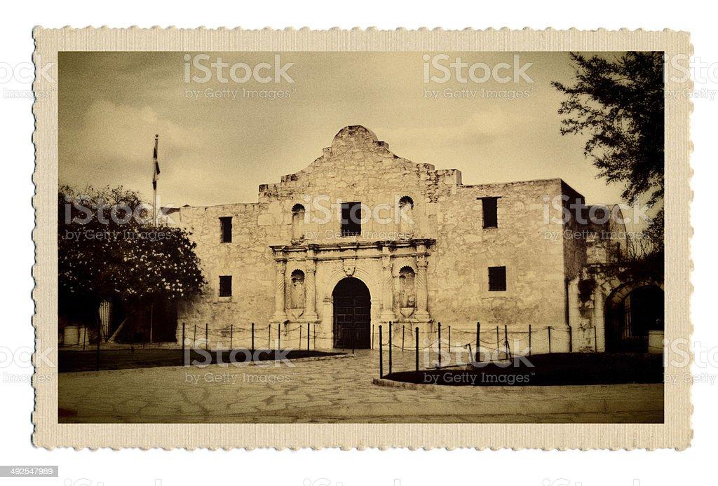 Retro Postcard of Mission Alamo in San Antonio Texas USA stock photo