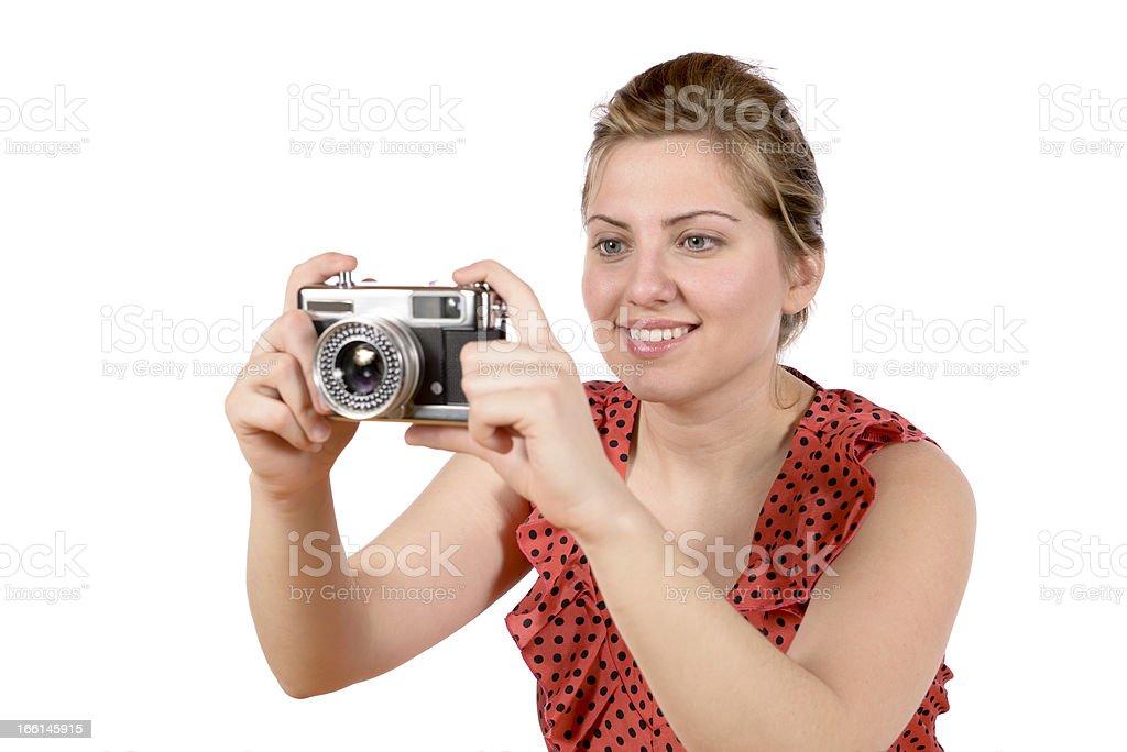 Retro pretty woman photographer royalty-free stock photo