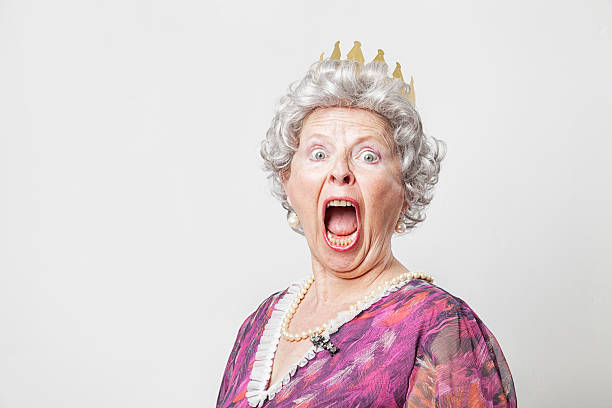 retro queen scream - funny fat lady stock photos and pictures