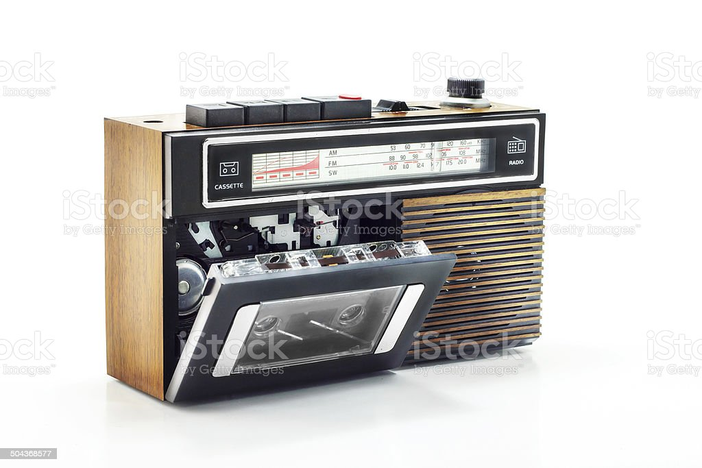 Retro radio and cassette player on table stock photo