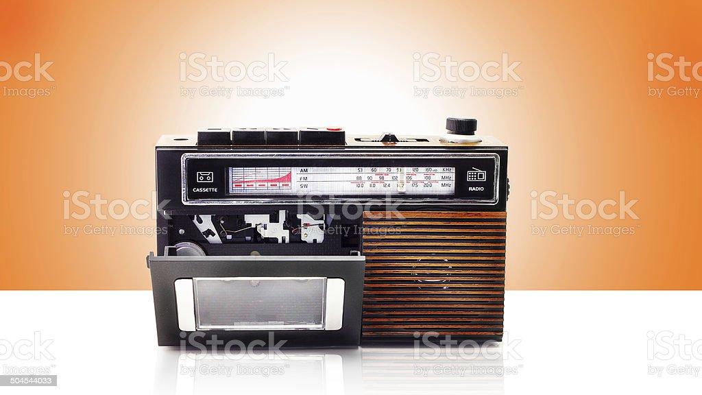 Retro radio and cassette player stock photo