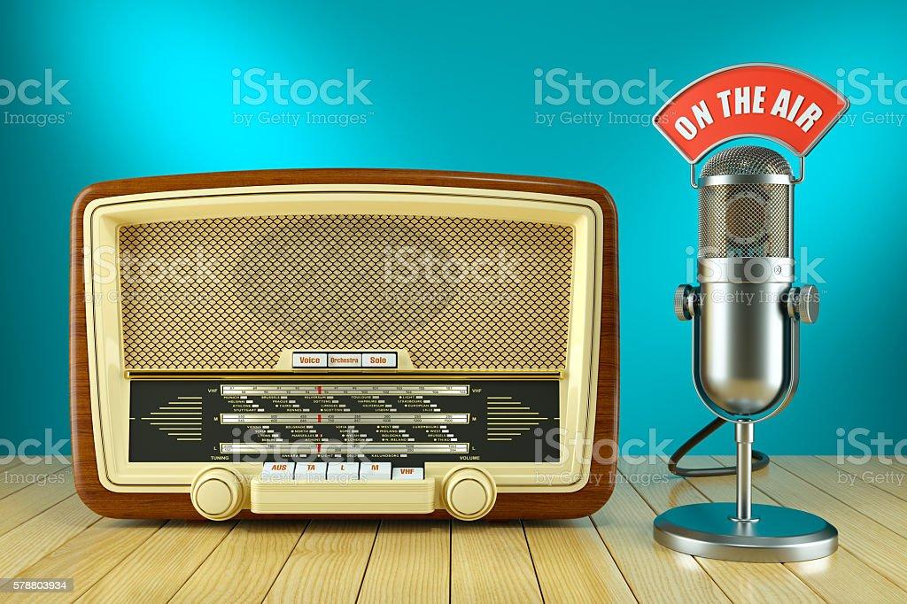 Retro radio and studio microphone. ON THE AIR stock photo