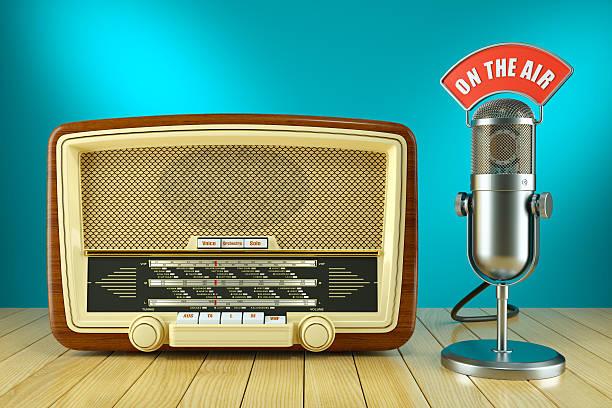 Retro radio and studio microphone. ON THE AIR - Photo
