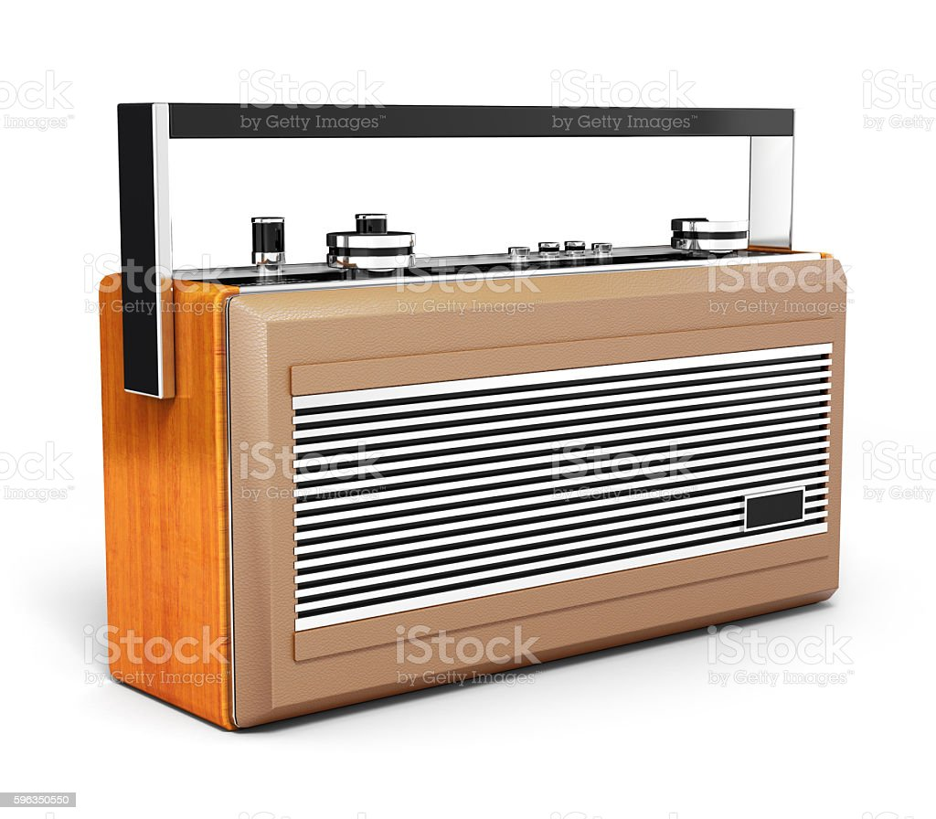 Retro radio isolated on white background 3d Lizenzfreies stock-foto