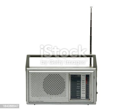 Old radio isolated on white with PATH