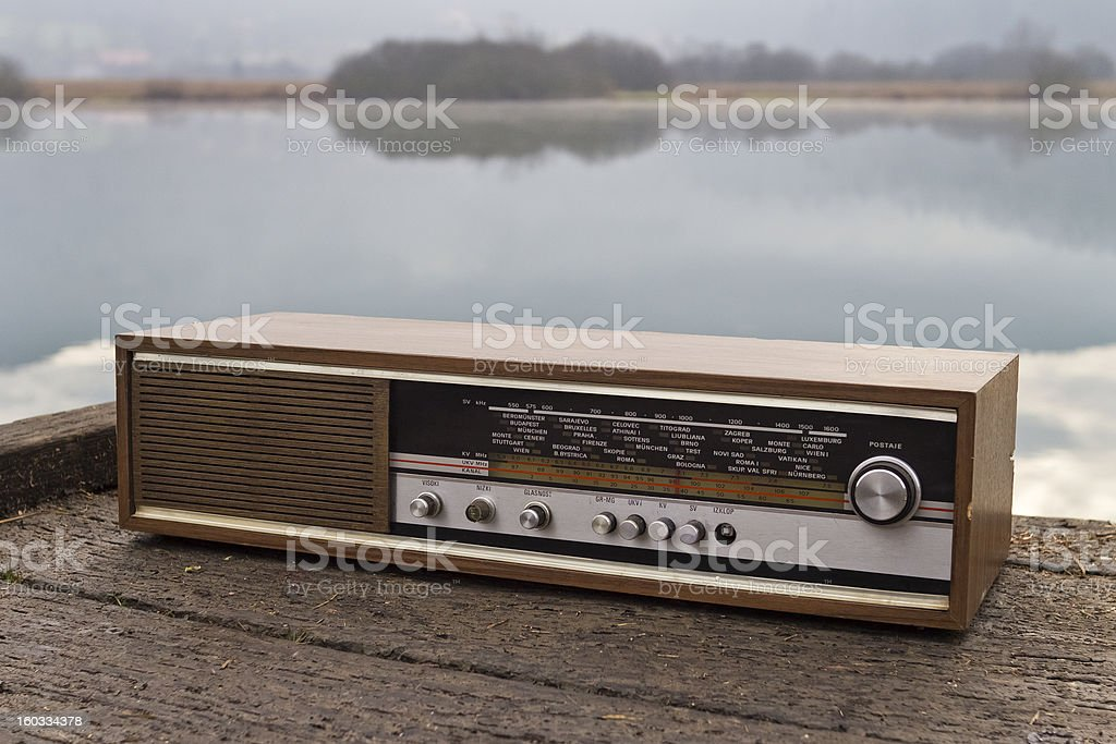 Retro radio receiver stock photo