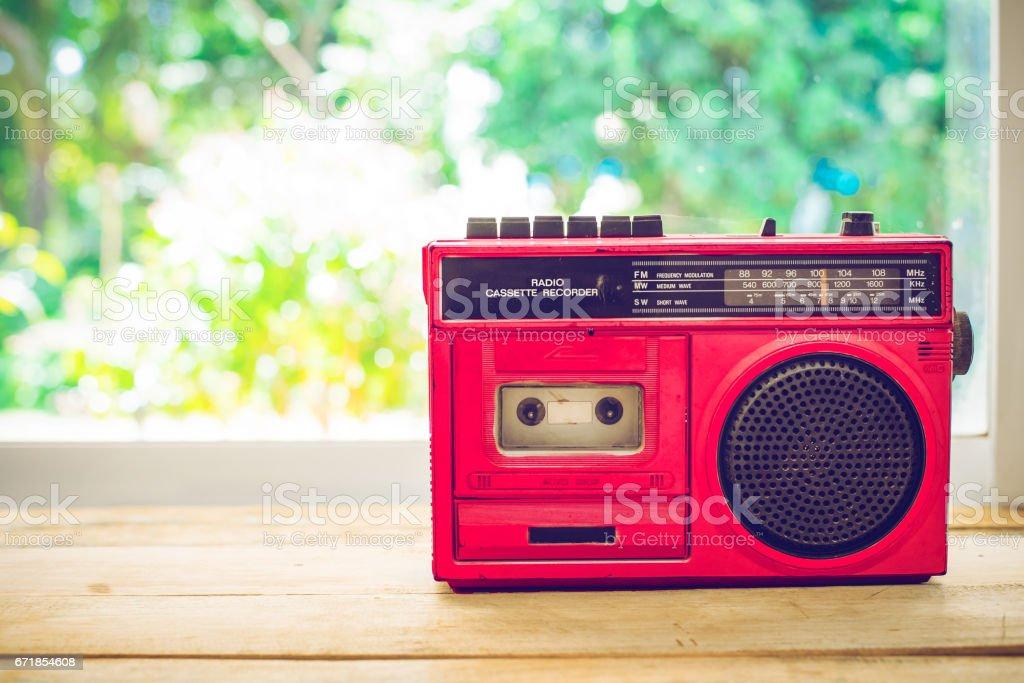 Retro radio red color stock photo