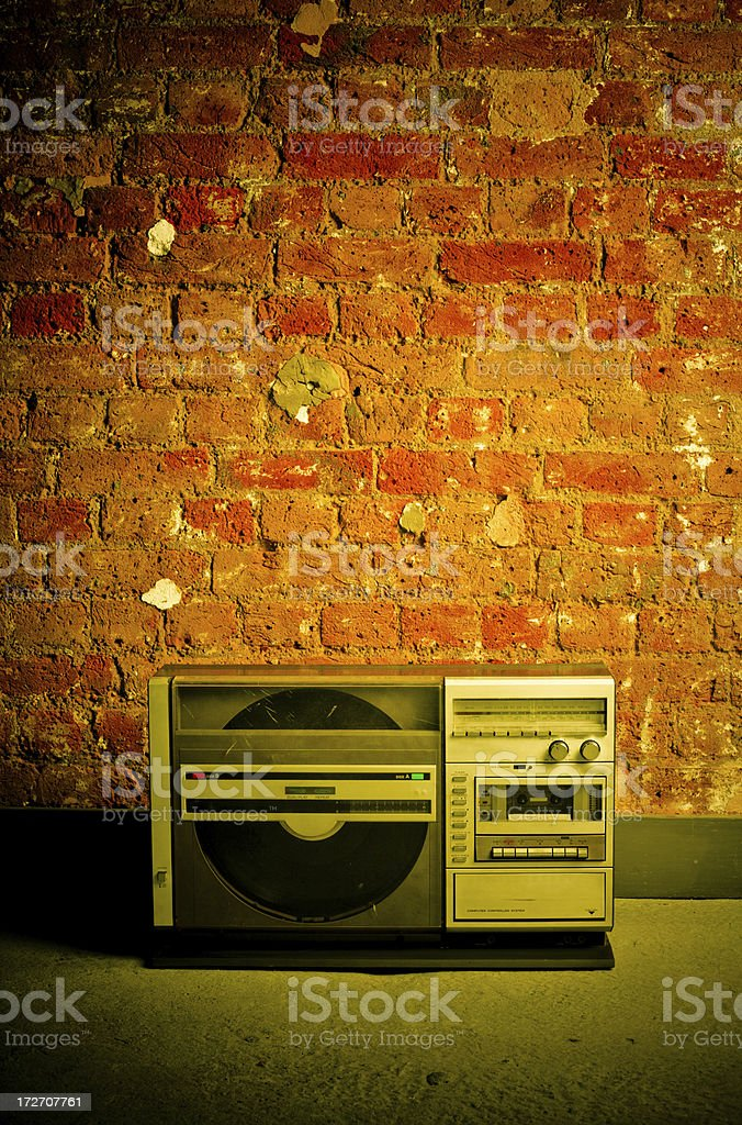 Retro Radio Tuner, Cassette Deck, Record Player royalty-free stock photo