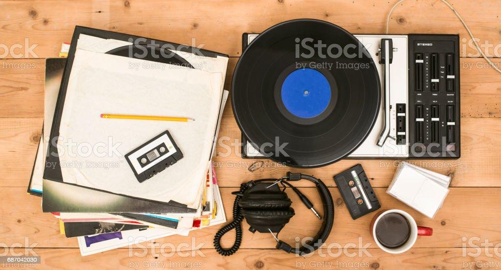 retro record player background stock photo