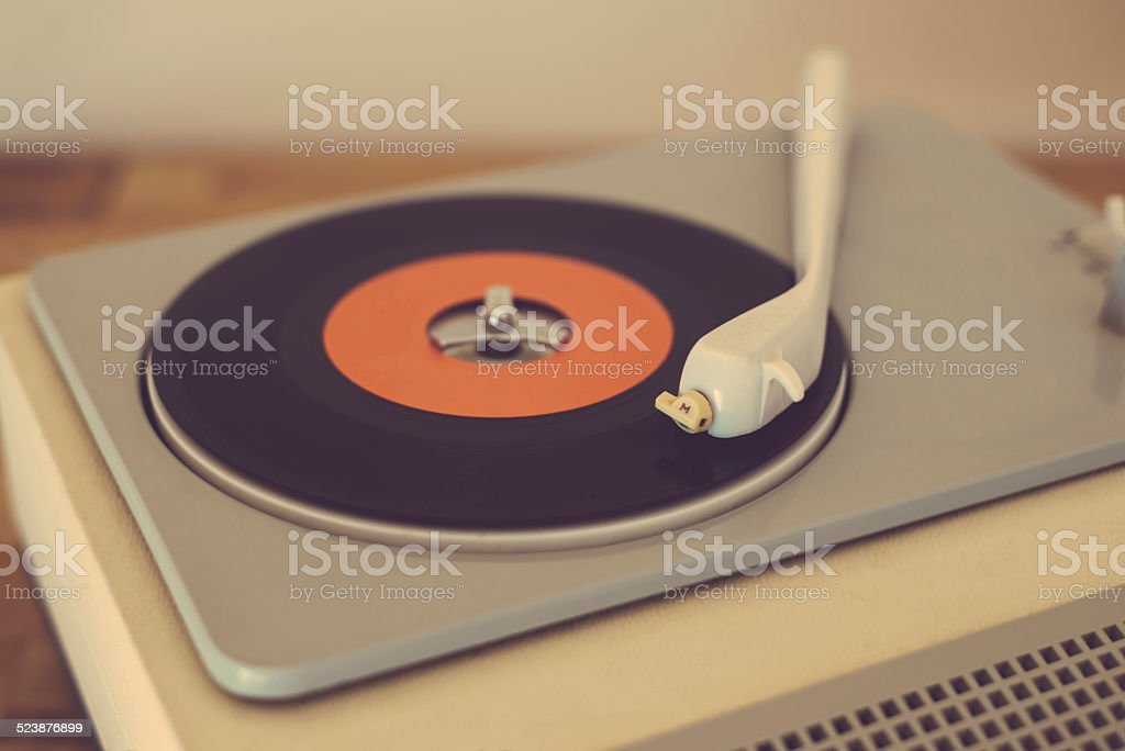 Retro record player stock photo