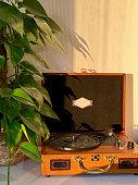 istock Retro recordplayer in the evening sun 1318310258