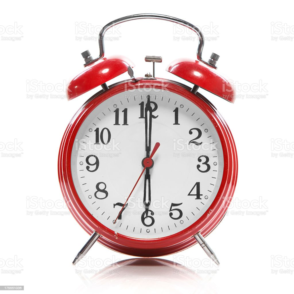 Retro Red Alarm Clock on White Background stock photo