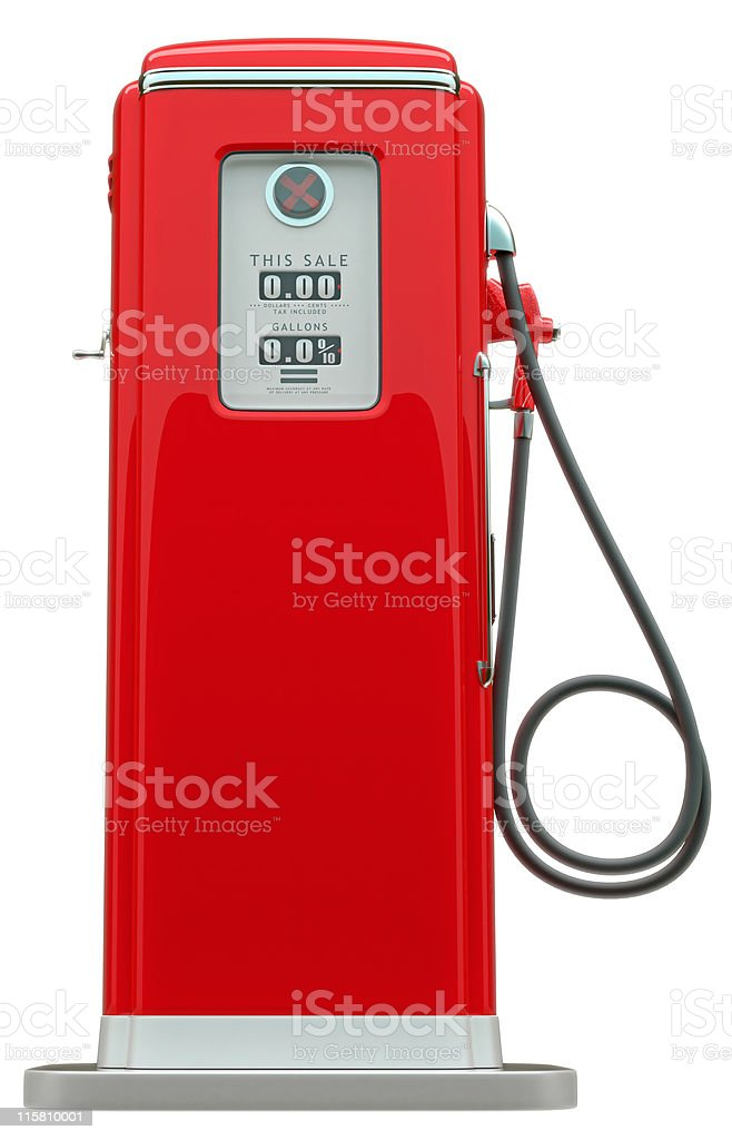 Retro red fuel pump isolated stock photo