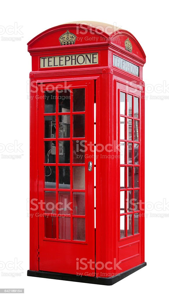 Retro Red Phone Boot stock photo