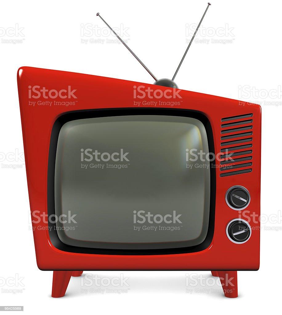 Retro red plastic TV stock photo