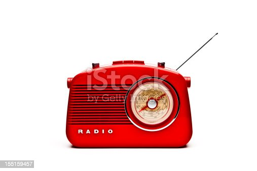 Retro red radio isolated on a white background.
