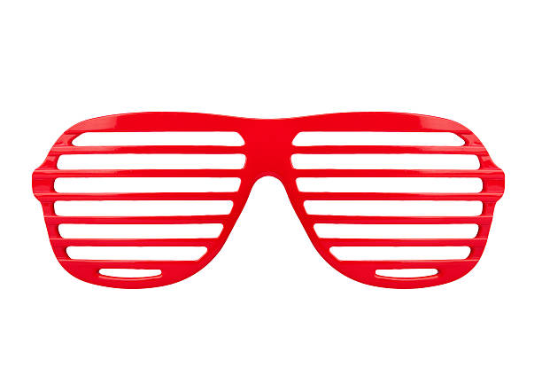 Retro red  shades sunglasses isolated on white background stock photo