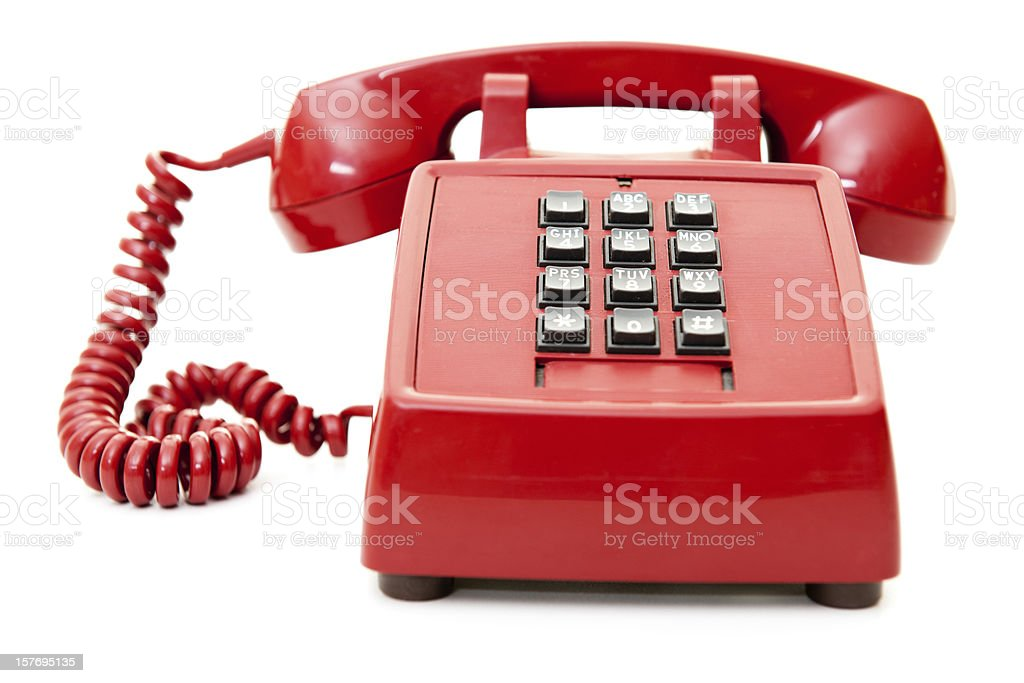 Retro Red Telephone on White stock photo