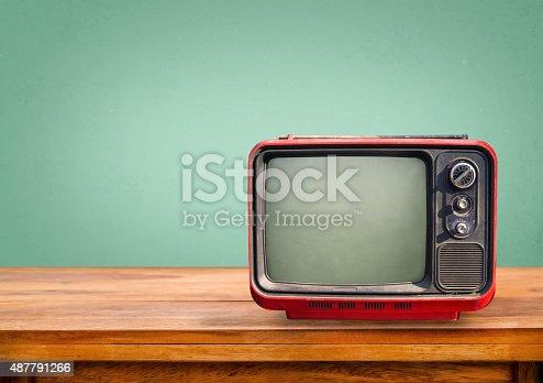 istock Retro red television 487791266