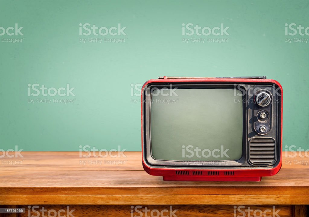 Retro red television stock photo