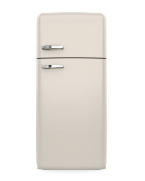 Retro Refrigerator Isolated Retro Refrigerator isolated on white background. 3D render fridge stock pictures, royalty-free photos & images