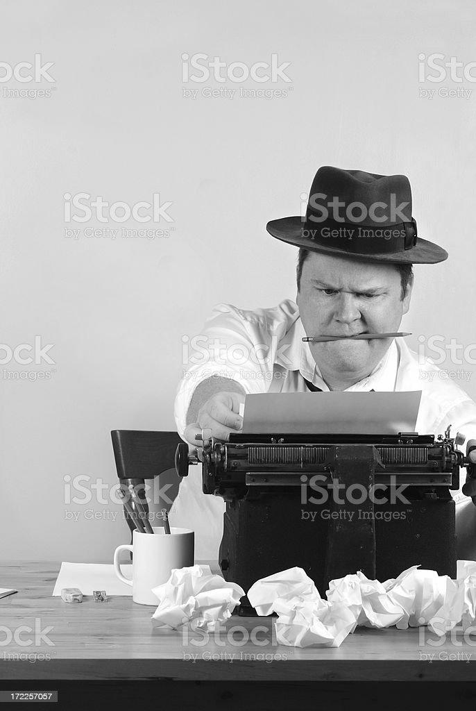 Retro Reporter Facing Deadline royalty-free stock photo