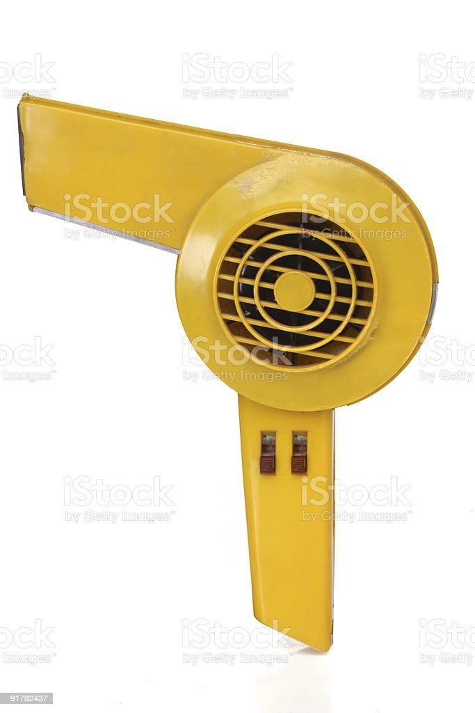 Retro revival hair dryer in yellow stock photo