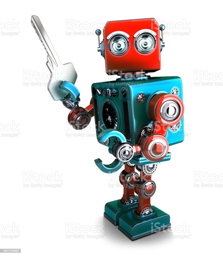 Retro Robot holding a key. 3D illustration. Isolated. Contains clipping path stock photo