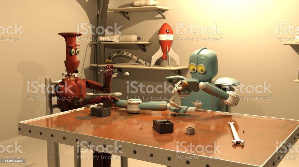 The retro robot is repairing his hand ,3d rendering