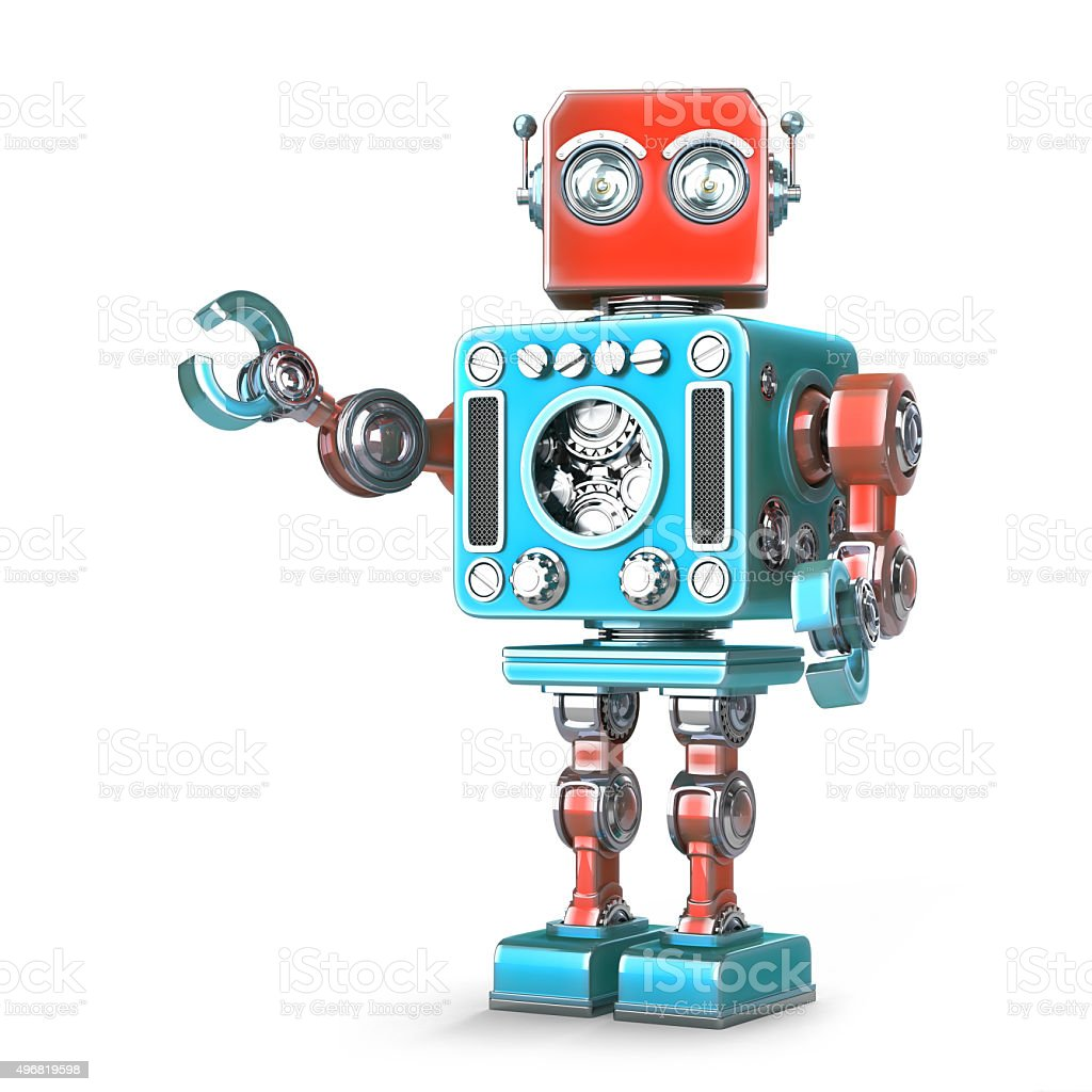 Retro robot. Isolated. Contains clipping path stock photo