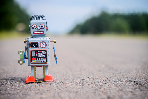 Retro Robot On The Road Stock Photo - Download Image Now