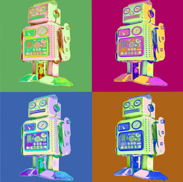 Retro Roboter Pop-Art Stil – Foto