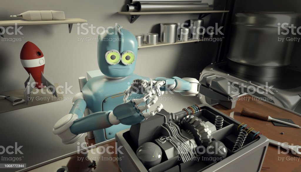 Retro Robot Repairs a broken mechanism, Android restores the detail....