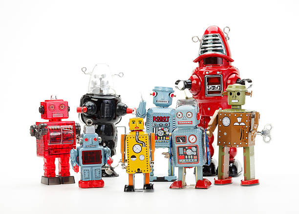 retro robot toy group stock photo