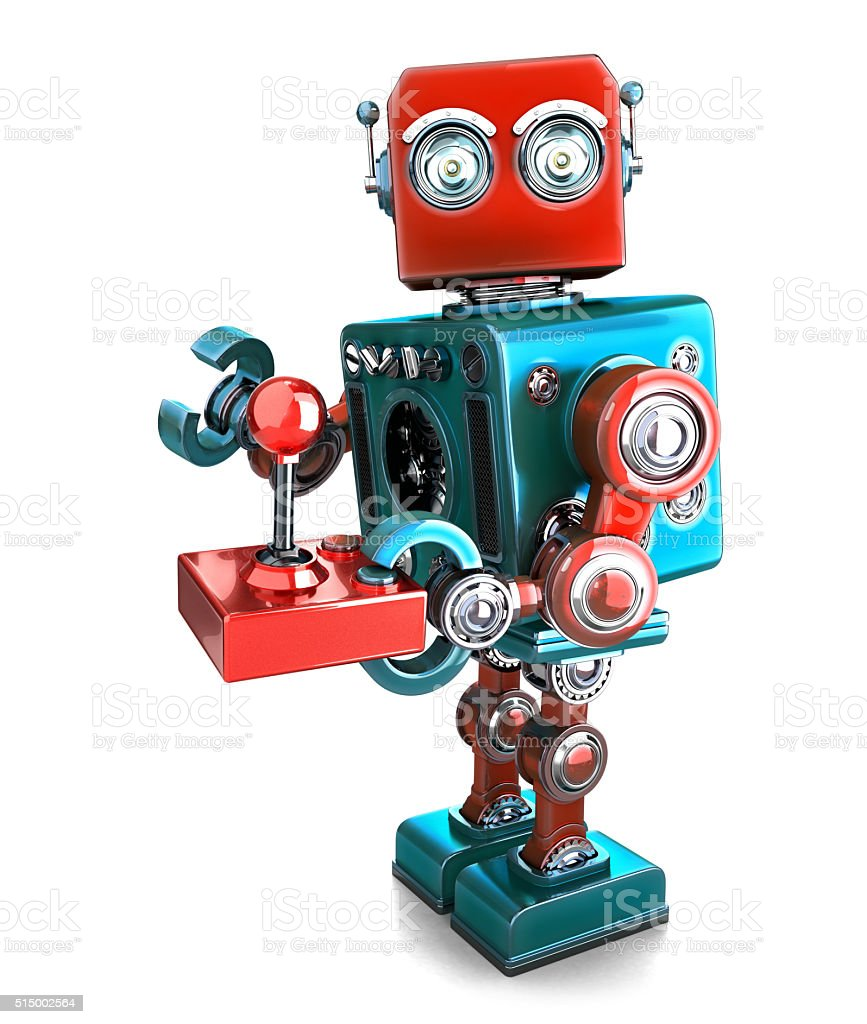 Retro Robot with a joystick. Isolated. Contains clipping path Retro Robot with a joystick. Isolated over white. Contains clipping path Activity Stock Photo