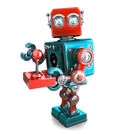 Retro Robot With A Joystick Isolated Contains Clipping Path Stock Photo - Download Image Now