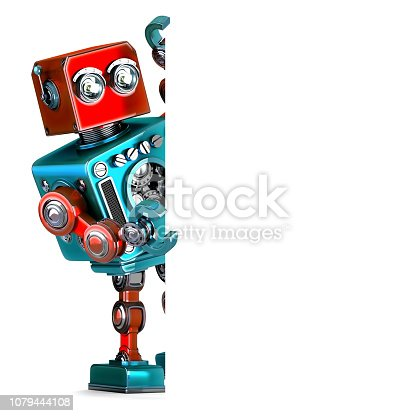 521048154 istock photo Retro Robot with blank banner. 3D illustration. Isolated. 1079444108